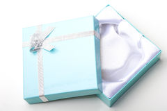 Beautiful elegant blue empty jewelry gift box Royalty Free Stock Photography