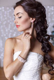 Beautiful elegant bride with dark hair posing at studio Stock Images
