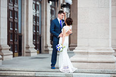 Beautiful and elegant bride and groom Royalty Free Stock Images
