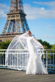 Beautiful elegant bride with long veil. Near the Eiffel tower in Paris Royalty Free Stock Photography