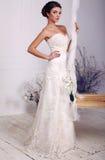 Beautiful elegant bride in luxurious wedding dress Royalty Free Stock Image