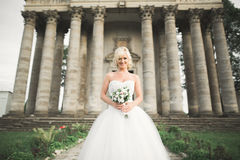 Beautiful elegant bride with perfect wedding dress and bouquet posing near old castle Stock Photo