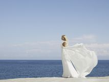 Beautiful elegant bride at the seashore Royalty Free Stock Images