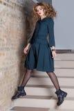 Beautiful elegant business woman suit fashion photo shooting for clothing catalog Stock Photo
