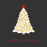 Beautiful elegant Christmas tree. Golden snowflakes. Greeting card.. Beautiful elegant Christmas tree. Golden snowflakes. Cute greeting card.Vector illustration Royalty Free Stock Photography
