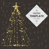 Beautiful elegant Christmas tree. Vector illustration on a dark background. Stock Photo