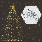Beautiful elegant Christmas tree. Vector illustration on a dark background. Royalty Free Stock Photos