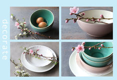 Beautiful Elegant Dinnerware. Beautiful dinnerware bowls plates crockery royalty free stock photo