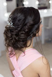 Beautiful elegant evening hairstyle on dark hair beautiful girl with an ornament from stones in her hair, hairstyle for the weddin Royalty Free Stock Photos