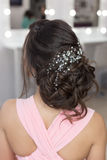 Beautiful elegant evening hairstyle on dark hair beautiful girl with an ornament from stones in her hair, hairstyle for the weddin Royalty Free Stock Images