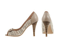 Beautiful and elegant female shoes. Royalty Free Stock Photography