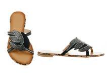 Beautiful and elegant female slippers. Royalty Free Stock Image
