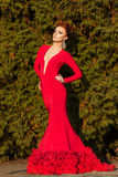Beautiful elegant girl with beautiful makeup and hair in a red evening dress in the Park Royalty Free Stock Photo