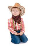 Beautiful elegant girl cowboy suit Stock Images