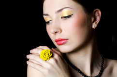 Beautiful elegant girl with an evening make-up Stock Photography