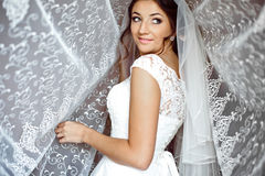 Beautiful elegant happy brunette bride on the background of a tu. Lle in a room in the morning Stock Photo