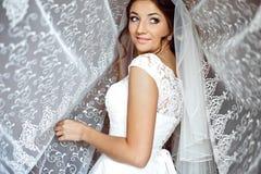 Beautiful elegant happy brunette bride on the background of a tu Stock Photo