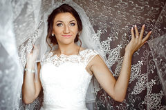 Beautiful elegant happy brunette bride on the background of a tu Royalty Free Stock Photography
