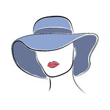 Beautiful elegant lady in the blue wide-brimmed hat. Vector fashion sketch in hand drawing style for your design. Stock Photo