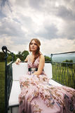 Beautiful elegant lady in nature Royalty Free Stock Photos