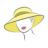 Beautiful Elegant Lady in the Yellow Beach Hat Royalty Free Stock Images