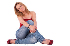 Beautiful and elegant middle-age woman, seated Stock Photography