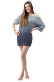 Beautiful elegant model in woolen sweater Royalty Free Stock Images