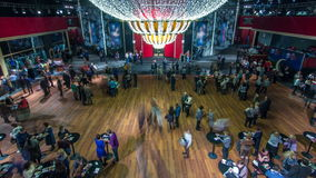 Beautiful elegant parquet hall in theatre timelapse. People gather before the show stock footage
