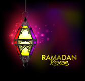 Beautiful Elegant Ramadan Kareem Lantern or Fanous. Hanging With Colorful Lights in Night Background for the Holy Month Occasion of fasting. Editable Vector Stock Photo