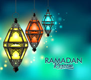 Beautiful Elegant Ramadan Kareem Lantern or Fanous. Hanging With Colorful Lights in Night Background for the Holy Month Occasion of fasting. Editable Vector Royalty Free Stock Image