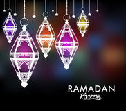 Beautiful Elegant Ramadan Kareem Lantern or Fanous. Hanging With Colorful Lights in Night Background for the Holy Month Occasion of fasting. Editable Vector Stock Images