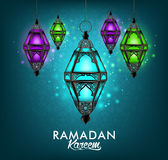 Beautiful Elegant Ramadan Kareem Lantern or Fanous. Hanging With Colorful Lights in Night Background With Islamic or Arabic Pattern. Editable Vector Stock Photos