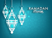 Beautiful Elegant Ramadan Mubarak Lanterns. Beautiful Elegant Ramadan Kareem Lanterns or Fanous Hanging With Colorful Lights in Islamic Pattern Background for Stock Images