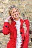 Beautiful elegant smiling woman outdoor fashion portrait Stock Images