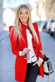 Beautiful elegant smiling woman outdoor fashion portrait Royalty Free Stock Image