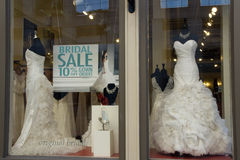 Beautiful elegant white wedding dresses on store w Royalty Free Stock Photography