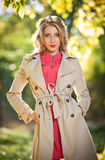Beautiful elegant woman in autumn park Stock Photography