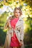 Beautiful elegant woman in autumn park Stock Photos