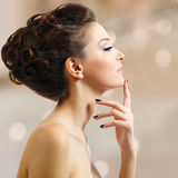 Beautiful elegant woman with black nails Stock Image