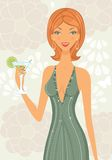 Beautiful elegant woman with cocktail Stock Images