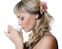The beautiful elegant woman with a coffee cup Stock Photo