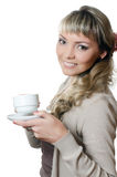 The beautiful elegant woman with a coffee cup Stock Photos