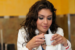 Beautiful elegant woman with coffee cup Stock Image
