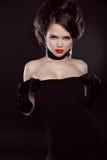 Beautiful elegant woman with diamonds. Jewelry and Beauty. Fashi. On photo Royalty Free Stock Photos