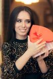 Beautiful Elegant  Woman Holding Heart Shape Gift Stock Photo