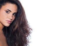 Beautiful elegant woman with long brown hair Stock Photo