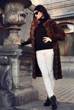 Beautiful elegant woman in luxurious fur coat posing in castle Stock Photography