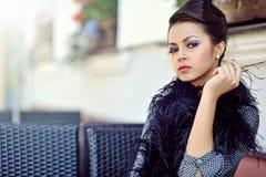 Beautiful elegant woman model posing outdoor Stock Image