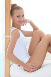 Beautiful elegant woman in panties and shirt Stock Photos