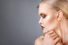 Beautiful elegant woman portrait. Profile Royalty Free Stock Image